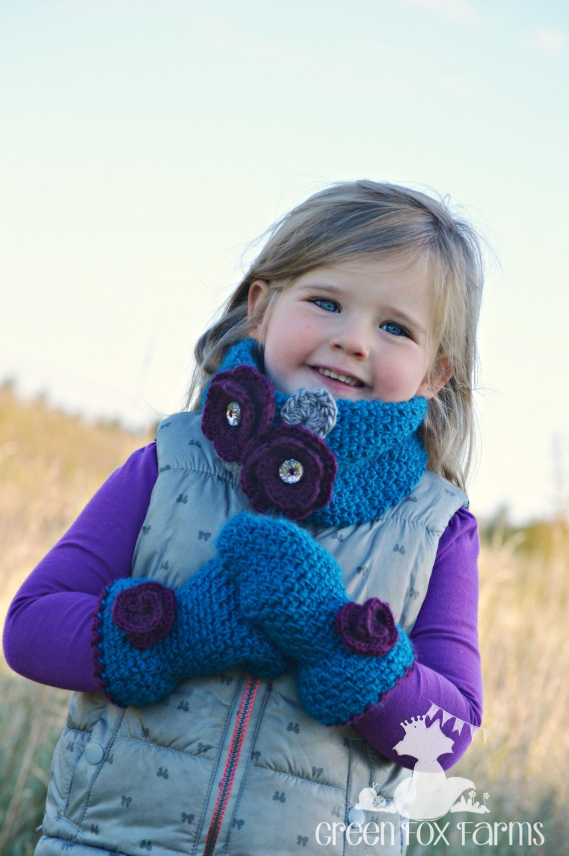 b344244b53a Flower Cowl Mittens Warmer Mittens Set Teal Neck Warmer Set