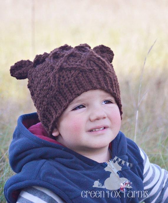 Verkabelt Bär Hut Kinder Häkeln Bär Mütze Babymütze Etsy