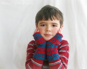 Custom Striped Fingerless Mittens,  Crochet Boys Gloves,  Kids Mittens,  Made to Order