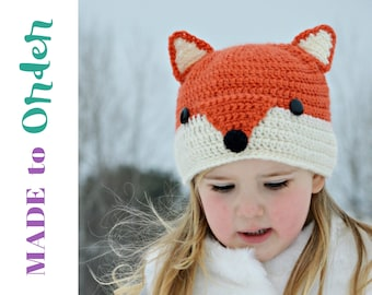Fox Hat, Adult Fox Hat, Animal Hat, Crochet Fox Hat, Gifts for Kids, Gifts For Her, Kids Fox Hat, Unique, Crochet Fox Hat, Free Shipping