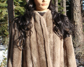 Vintage Coat Mink Faux Fur Sasson HoBo Retro Hip