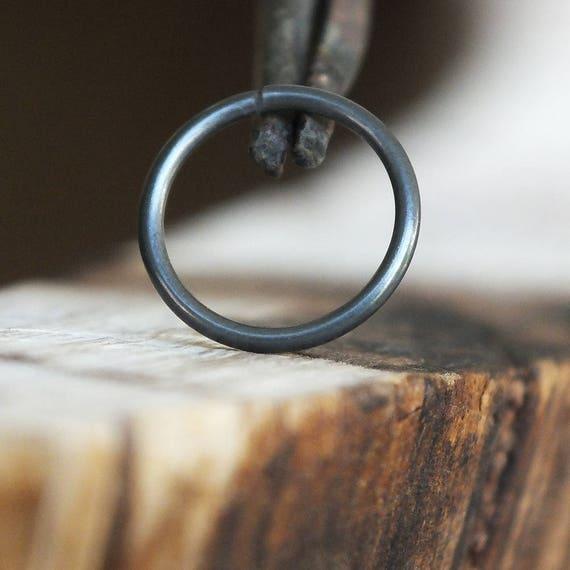 Black Nose Ring Hoop Niobium Cartilage Earring Minimal Etsy
