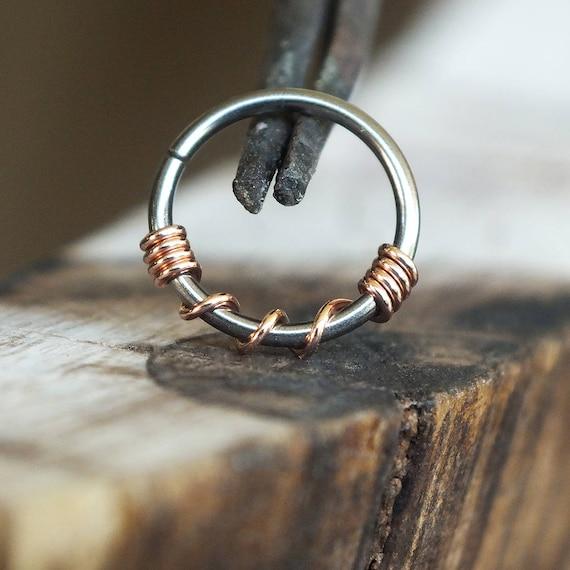 Copper Twist Niobium Nose Ring Hoop Boho Piercing Jewelry