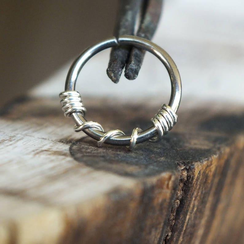 Silver Twist Niobium Nose Ring Hoop Boho Piercing Jewelry Etsy