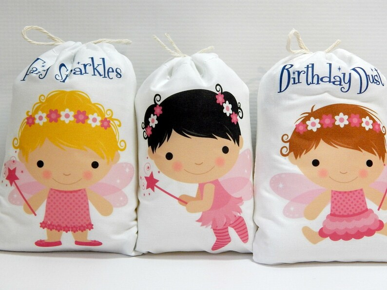 Fairy Favor Bags Princess Girls Birthday Baby Shower Bags great for Treats or gifts Personalized 5 X 7 or 6 X 8 Set of 6 bags per order