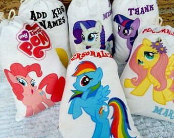 "My Little Pony Birthday Party Favor bags Cartoon Characters Great for gifts or treats Can be Personalized 5"" X 7"" or 6"" X 8"" Qty 6"