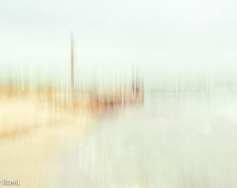 "Beach Print ""Jetty on the Bay"" Ready to Frame, Muted tones, Impressionistic Seascape,  Fine Art Print, Melbourne"