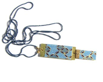 Necklace with pendant rectangle brass Japanese paper - stripes and Navy blue/white leaves