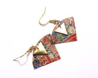 paper earrings Japanese triangles, red, gold