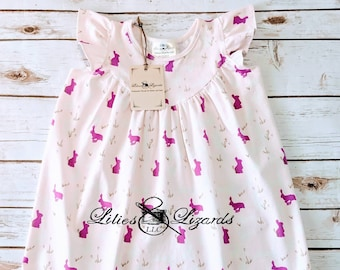 Girls Flutter Sleeve Bunny Dress