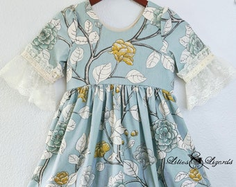 Girls Boho Dress, Floral Lace, Ready To Ship Size 8