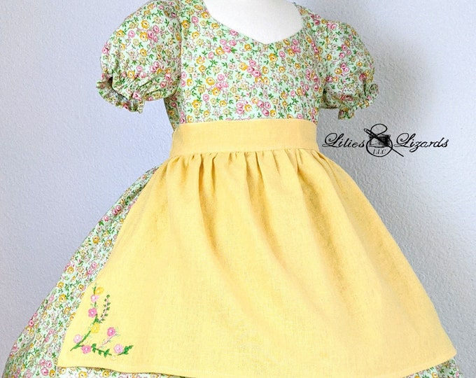 Girls Spring Floral Dress and Apron Set, size 6
