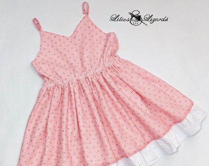 Gingham and Lace Summer Dress, Size 7