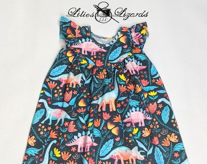 Dinosaur Botanical Dress, Girls Size 12m - 8