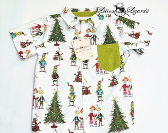 Christmas Grinch Whoville Boys Shirt, Size 3m-8