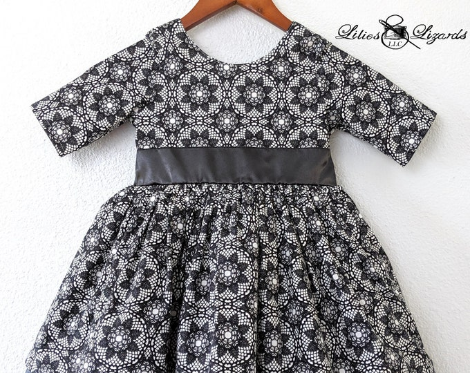 Girls Black and White Formal Dress, Ready to Ship size 5