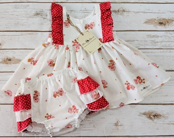 Strawberry Shortcake Top and Ruffle Butt Diaper Cover Set