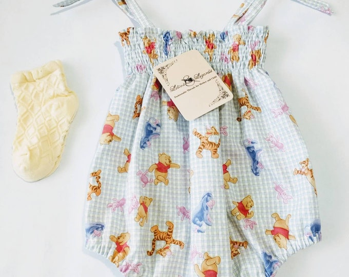 Featured listing image: Gingham Winnie the Pooh and Friends Romper