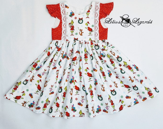 Featured listing image: Christmas Grinch Whoville Dress, Girl's Christmas Dress, size 2-8
