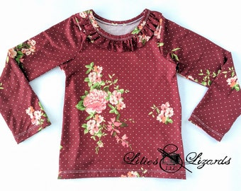 Girls Layering Top, Long Sleeve, Floral