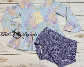 Spring Floral Faux Glitter Peplum and Shorties