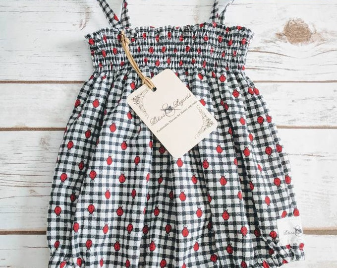 Black/white Check Gingham Ladybug Shirred Sunsuit Romper