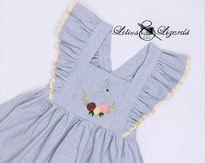 Hand-Embroidered Pinafore Dress Ready to Ship Size 5