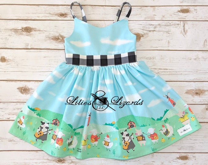 Girls Farm Animals Dress, Sizes 12m-8