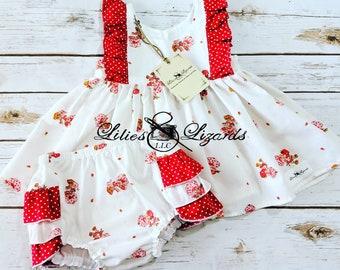 Strawberry Shortcake Dress and Ruffle Bum Diaper Cover