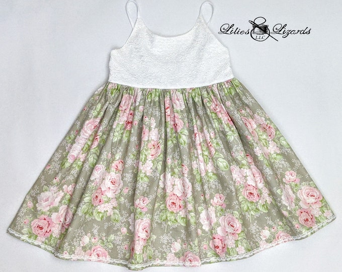 Girls Lace Floral Dress, Size 7