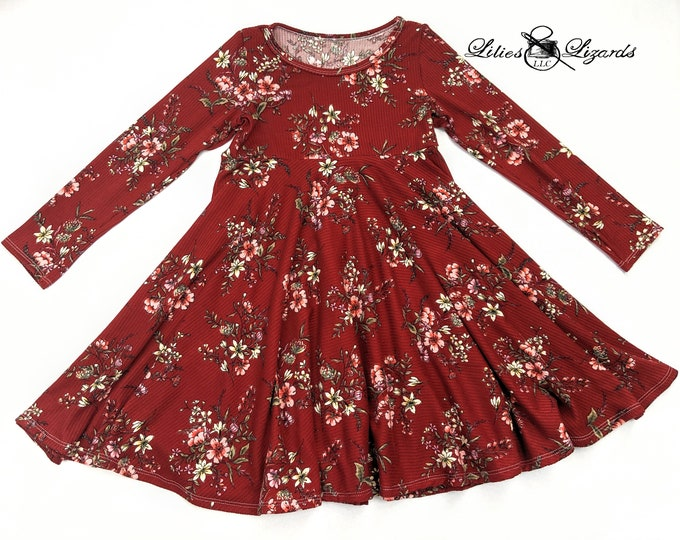 Red Floral Dress, Circle Skirt, Girls Size 6m-8,