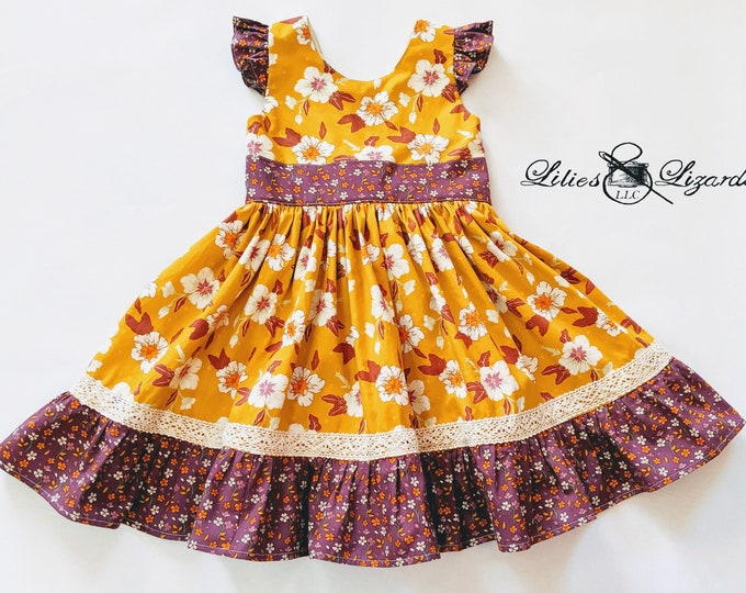 Girls Fall Dress, Size 5 Ready to Ship