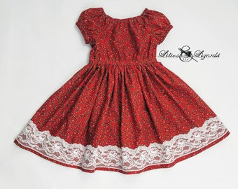Girls Red Christmas Dress,  Ready To ship, Size 5