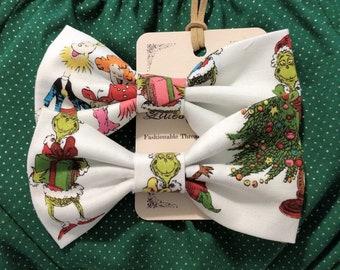 Grinch Christmas Hair Bow