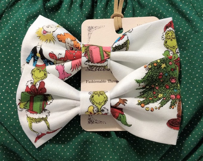 Grinch Christmas Hair Bow