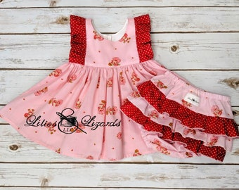 Strawberry Shortcake Dress and Ruffle Bum Diaper Cover