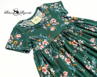 Green Floral Dress, Girls size 6m - 8