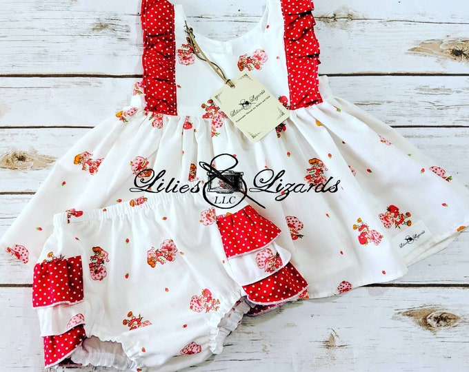 Featured listing image: Strawberry Shortcake Dress and Ruffle Bum Diaper Cover