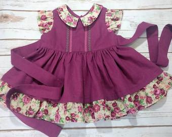 18-24 m Vintage Style Plum Floral Dress Set Ready to ship!