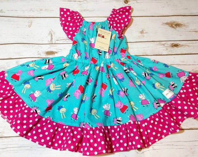 Peppa Pig Character Dress With Skirt Ruffle