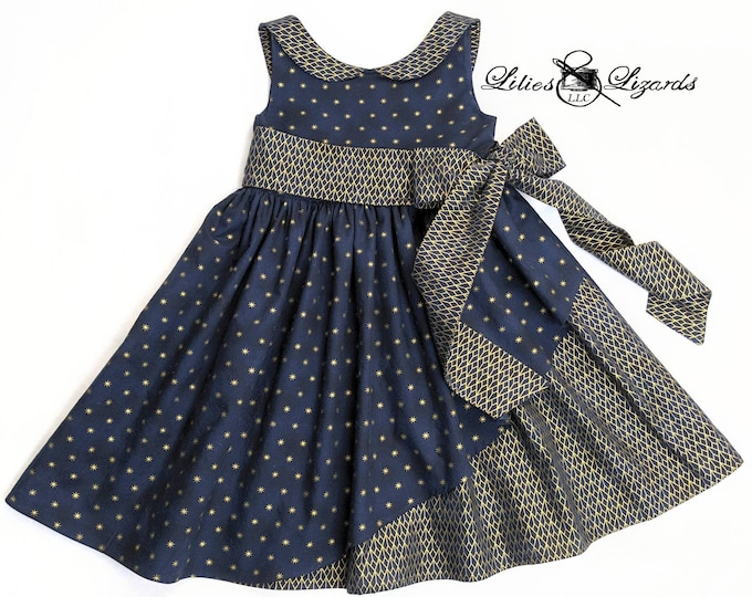 Girls Navy and Gold Dress, Size 8 Ready to Ship