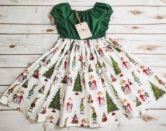 Size 4 READY TO SHIP The Grinch Christmas Dress Made to Order