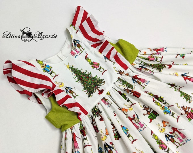 Featured listing image: Christmas Grinch Whoville Dress, Size  2-10