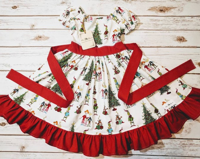 Featured listing image: Grinch Christmas Dress Made to Order