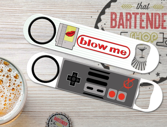 Blow Me Personalized Inked Customized Bartender Flat Speed Steel  Personalized Bottle Openers For Gamers | Add Name/Text | FREE SPINNER RING