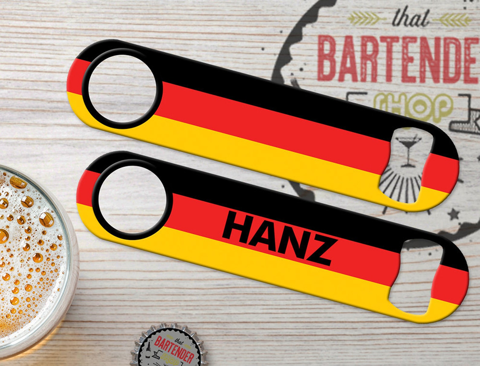 Germany Flag (1A) Personalized Ink Bar Key Custom Deutschland German Bartender Speed Bottle Opener