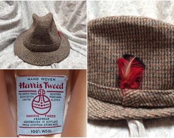 cd36a9847e5 Vintage Men s 80 s Harris Tweed Wool Hat Trilby Bucket Hat Woven in  Scotland Large