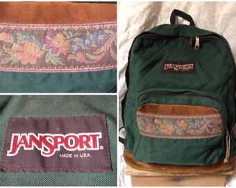 Vintage 90 s Jansport Backpack Leather Bottom Floral Detail Tear Drop Green  Canvas Bag Backpack Pack Made in the USA 2ee4afd1d5