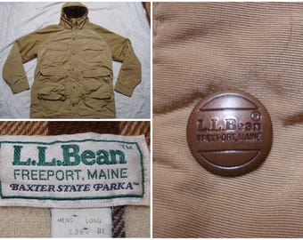 Vintage Men s 80 s L.L.Bean Baxter State Parka Jacket Tan Khaki Plaid Wool  Llined Full-zip Mountain Hood Large Made in USA 49b27369ff7e