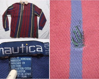bab508748 Vintage Men's 90's Nautica Rugby Polo Shirt Red Blue Green Stripe Boat Logo  Long Sleeve Distressed XL